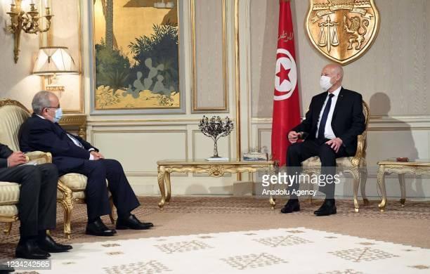 Algerian Minister of Foreign Affairs, Ramtane Lamamra meets Tunisian President Kais Saied at the Carthage Palace in Tunis, Tunisia on July 27, 2021.