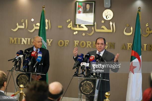 Algerian Minister of Foreign Affairs Sabri Boukadoum at a joint press conference with the secretary general of the Arab League, Ahmed Aboul Gheit ,...