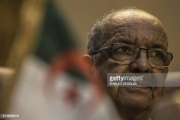 Algerian Minister of Maghreb Affairs African Union and Arab League Abdelkader Messahel attends a meeting of Arab foreign ministers to elect a new...