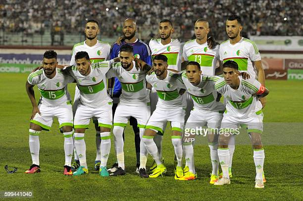 Algerian national football team players pose before their 2017 African Cup of Nations qualifying football match Algeria versus Lesotho on September 4...