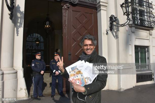Algerian origin French businessman Rachid Nekkaz speaks to press after paying 10 burqa penalties in Vienna Austria on February 5 2018