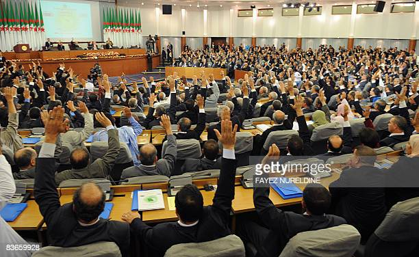 Algerian Parliament and Council of Nation members vote 'yes' for controversial constitutional amendments during a special session on November 12 2008...