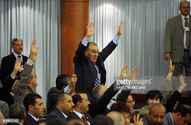 Algerian Parliament and Council of Nation opposition members vote against controversial constitutional amendments during a special session on...