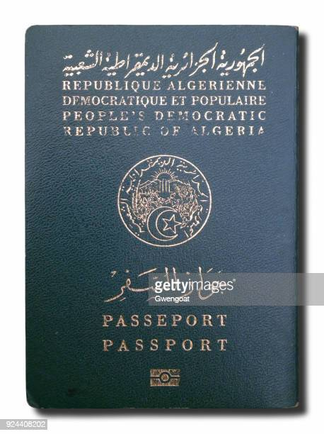 algerian passport isolated on a white background - north africa stock pictures, royalty-free photos & images