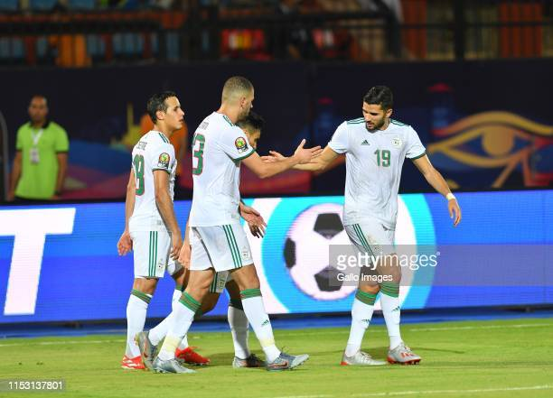 Algerian players celebrates a goal during the African Cup of Nations match between Tanzania and Algeria at AlSalam Stadium on July 01 2019 in Cairo...