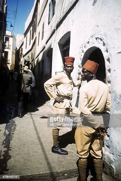 Algerian police in the Casbah of Algiers Algeria Off limits to US servicemen and patrolled by Military Police French and Algerian Police