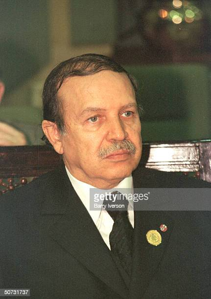Algerian Pres Abdelaziz Bouteflika in serious portrait during Arab League summit held October 2122