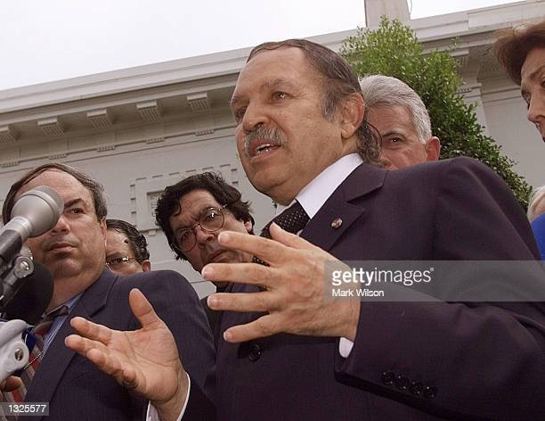 Algerian President Abdelaziz Bouteflicka talks to reporters after meeting with US President George W Bush July 12 2001 at the White House in...