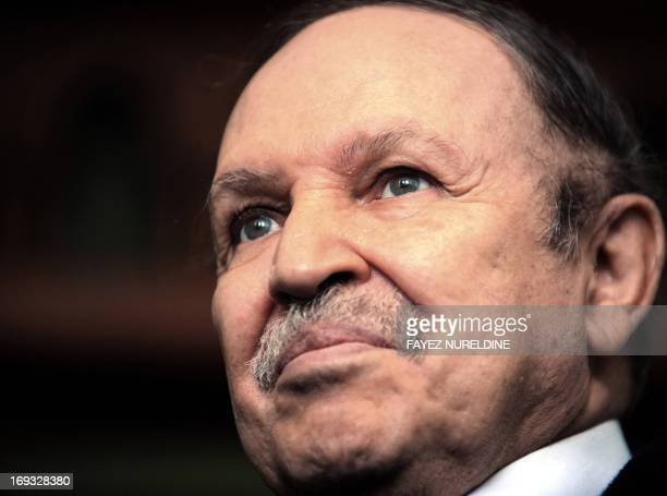 Algerian President Abdelaziz Bouteflika attends a joint press conference with his Cuban counterpart Raul Castro at Presidential Palace on February 08...