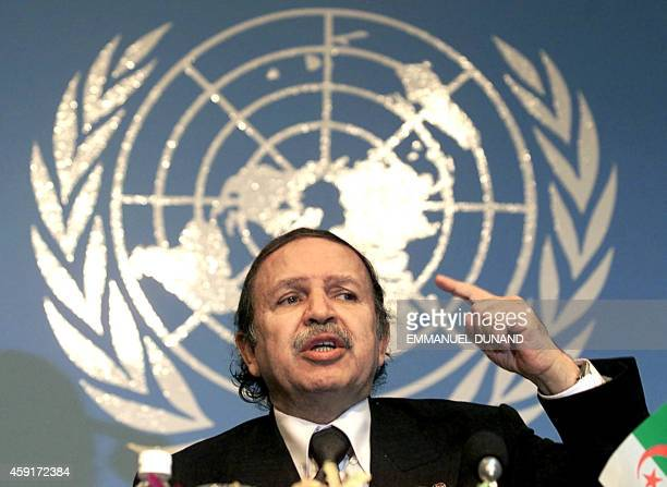 Algerian President Abdelaziz Bouteflika gestures while addressing a press conference at the 10th UN Conference on Trade and Development 18 February...