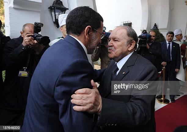 Algerian president Abdelaziz Bouteflika greets Moroccan Foreign Minister Saâd Eddine Othmani on January 24 2012 in Algiers Saad Eddine Othmani...