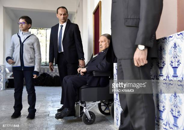 Algerian President Abdelaziz Bouteflika is seen after voting at a polling station in Algiers as Algeria goes to the polls for local elections on...