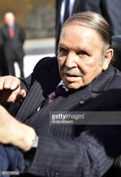 Algerian President Abdelaziz Bouteflika is seen while voting at a polling station in Algiers on November 23 2017 as Algeria goes to the polls for...