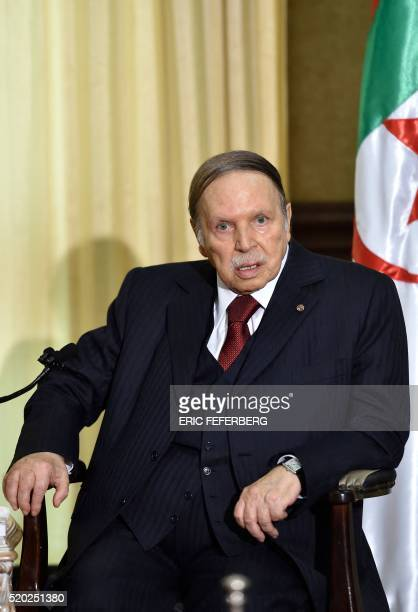Algerian President Abdelaziz Bouteflika looks on as he meets the French prime minister at his residence during an official visit on April 10 2016 in...