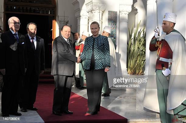 Algerian president Abdelaziz Bouteflika meets American Vice President Hillary Clinton on February 25 2012 in ALgiers Algeria