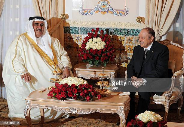 Algerian President Abdelaziz Bouteflika meets with Bahraini Foreign Affairs Minister Sheikh Khaled bin Ahmad alKhalifa upon the latter's arrival in...