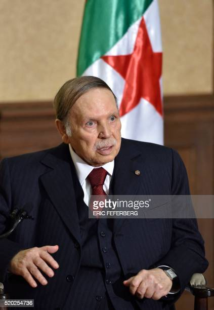 Algerian President Abdelaziz Bouteflika meets with the French prime minister at his residence during an official visit on April 10, 2016 in Zeralda,...