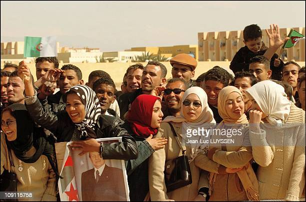 Algerian President Abdelaziz Bouteflika Visits The Wilaya Of El Oued One Month Prior To The Presidential Election On March 2 2004 In Biskra Algeria...