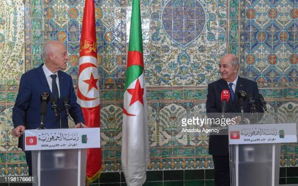 Algerian President Abdelmadjid Tebboune and Tunisian President Kais Saied hold the joint press conference following their meeting at the El Mouradia...