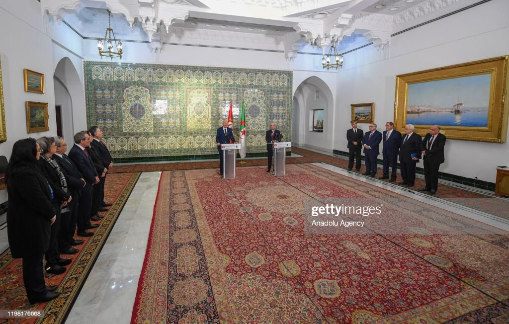 Abdelmadjid Tebboune - Kais Saied joint press conference in Algeria : News Photo