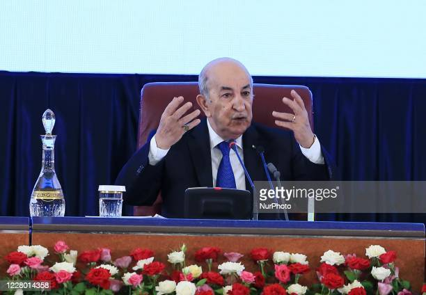 Algerian President Abdelmadjid Tebboune, during the Walis government meeting, at the Palais des Nations, in Algiers, Algeria on August 12, 2020