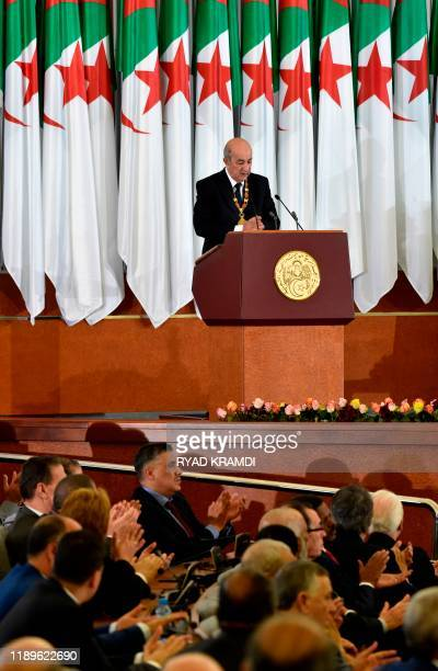 Algerian President Abdelmadjid Tebboune gives an address during the formal swearingin ceremony in the capital Algiers on December 19 2019 The...