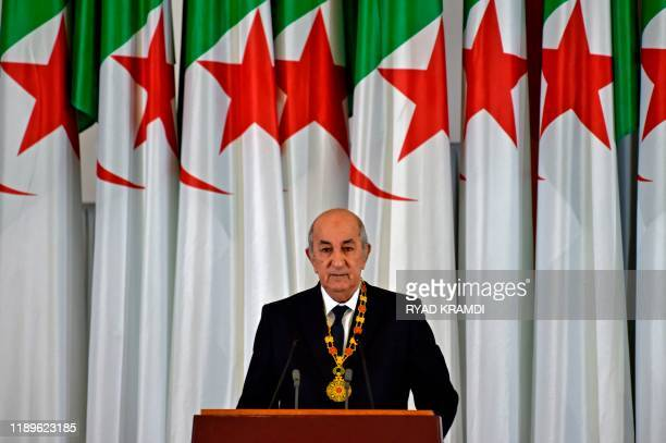 Algerian President Abdelmadjid Tebboune gives an address during the formal swearing-in ceremony in the capital Algiers on December 19, 2019. - The...