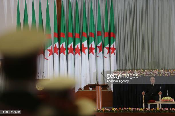 Algerian President Abdelmadjid Tebboune is seen prior to his swearingin ceremony in Algiers Algeria on December 19 2019