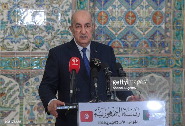 Algerian President Abdelmadjid Tebboune makes a speech during the joint press conference with Tunisian President Kais Saied following their meeting...