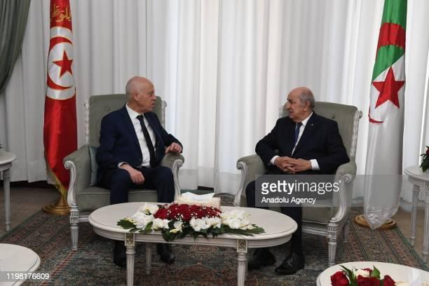 Algerian President Abdelmadjid Tebboune meets with Tunisian President Kais Saied at the El Mouradia Palace Presidential Palace in Algiers, Algeria on...