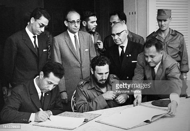 Algerian President Ahmed Ben Bella with Fidel Castro in the Sixties in Cuba