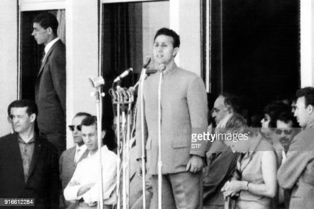 Algerian President Ahmed Ben BellaCflanked by Algerian Foreign Affairs minister Abdelaziz Bouteflika Health minister Mohamed Seghir Nekkacheand...
