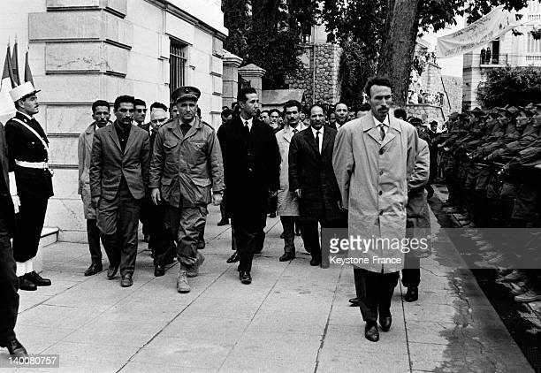 Algerian president Ahmed Ben Bella's visit in Constantine with colonel Houari Boumediene on November 11 1963 in Constantine Algeria
