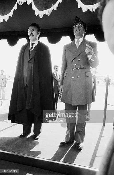 Algerian President Houari Boumedienne with Muammar alQaddafi in Tripoli during a summit for the creation of the Firmness Front which included Arab...