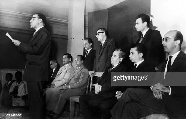 Algerian president of the GPRA Ferhat Abbas makes known the response of the FLN to General de Gaulle's plan during a press conference given in Tunis...