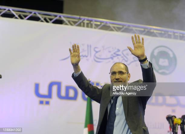 Algerian President of the Movement of Society for Peace political party Abdurrazak Makri greets supporters as he attends the electoral campaign rally...