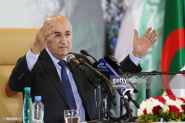 Algerian President-elect Abd el Madjid tabon at a press conference in Algiers on December 13, 2019. - Abdel Majid Tabboun was elected Eighth...