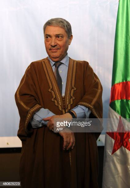 Algerian presidential candidate Ali Benflis stands on March 25, 2014 in el-Oued, 620 kms south of Algiers, as campaigning kicks off in Algeria for...