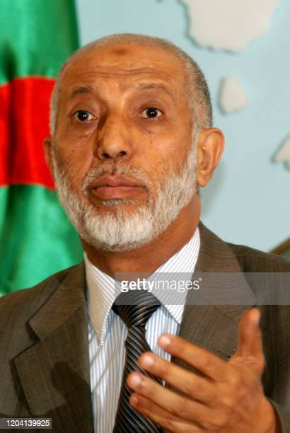Algerian Prime minister Abdelaziz Belkhadem answered media questions at a press conference held in Algiers 28 August 2007 Belkhadem said that...