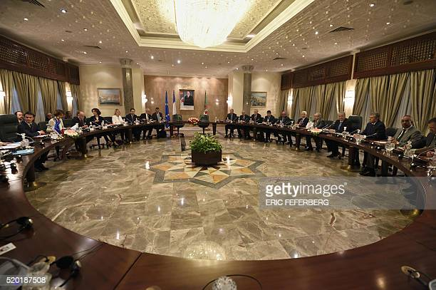 Algerian Prime Minister Abdelmalek Sellal and French Prime minister Manuel Valls take part in a plenary session between members of their governments...