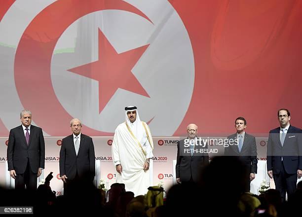 Algerian Prime Minister Abdelmalek Sellal Tunisian Assembly President Mohamed Ennaceur the Emir of Qatar Tamim bin Hamad alThani Tunisian President...