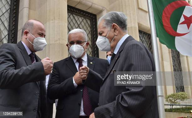 Algerian Prime Minister Aymen Benabderrahmane, People's National Assembly's leader Ibrahim Boughalil , and Council of the Nation leader Salah Goudjil...