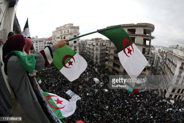 Algerian protesters are demonstrating for the fifth consecutive Friday in Algiers Algeria on March 22 2019 to protest the extension of President...