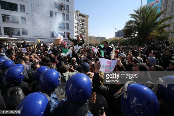 Algerian protesters chant slogans during a demonstration protest against the fifth term of Abdelaziz Bouteflika in Algiers Algeria 22 February 2019...