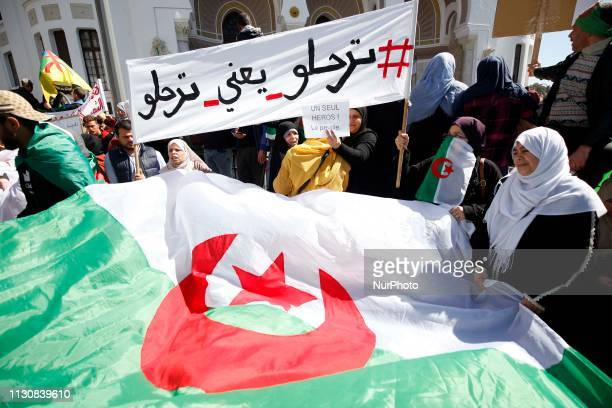 Algerian protesters chanted slogans and sat down at a demonstration in Algiers in Algeria on March 15 2019 Against the extension of President...