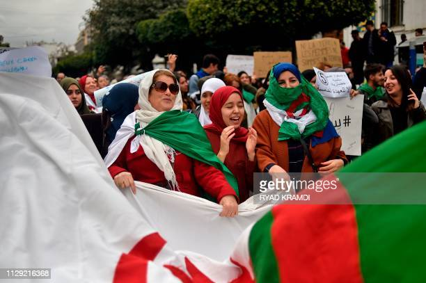 TOPSHOT Algerian protesters demonstrate against their ailing president's bid for a fifth term in power in Algiers on March 8 2019