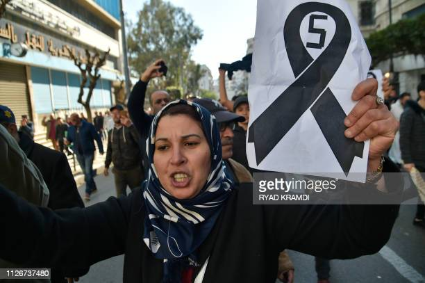 Algerian protestors take part in a demonstration against Algeria's president candidacy for a fifth term on February 22 2019 in Algiers Abdelaziz...