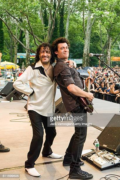 Algerian Rock Rai and World Music singer Rachid Taha and his guitarist Stephane Bertin onstage at Central Park SummerStage New York New York July 5...