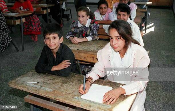 Algerian schoolchildren attend 09 September their first day of the school year in the city of Boufarik 35 kms south of the capital Algiers In a...