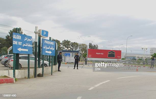 Algerian security forces stand guard at the entrance of the parking lot of Algiers International Airport on January 18 2013 as Islamist hostagetakers...